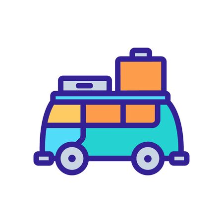 suitcase stuff by bus icon vector. suitcase stuff by bus sign. color symbol illustration