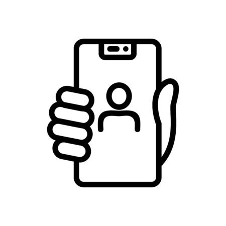 hand holding selfie phone icon vector. hand holding selfie phone sign. isolated contour symbol illustration Ilustracja