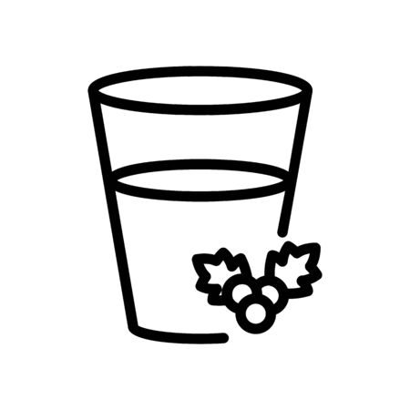 half full glass of hawthorn juice icon vector. half full glass of hawthorn juice sign. isolated contour symbol illustration