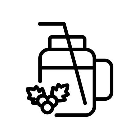 cup mug for hawthorn juice with straw icon vector. cup mug for hawthorn juice with straw sign. isolated contour symbol illustration