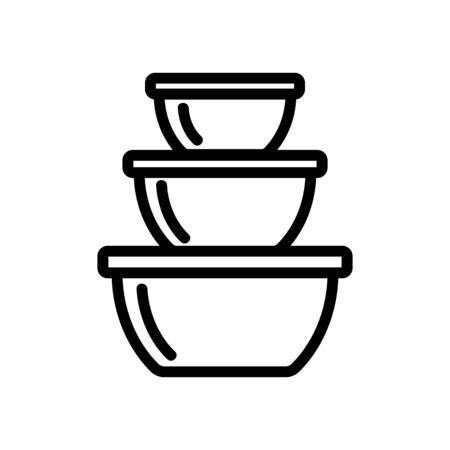 food storage containers in different sizes icon vector. food storage containers in different sizes sign. isolated contour symbol illustration Иллюстрация