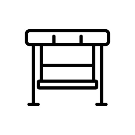hanging bench with reliable support holder icon vector. hanging bench with reliable support holder sign. isolated contour symbol illustration
