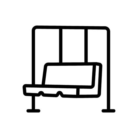 hanging swing in form of sofa icon vector. hanging swing in form of sofa sign. isolated contour symbol illustration Ilustracja