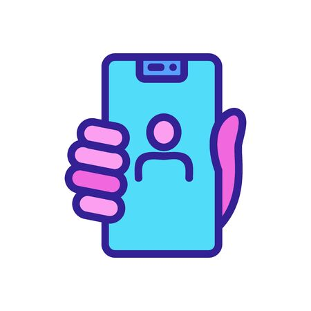 hand holding selfie phone icon vector. hand holding selfie phone sign. color symbol illustration