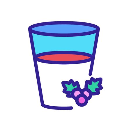 half full glass of hawthorn juice icon vector. half full glass of hawthorn juice sign. color symbol illustration