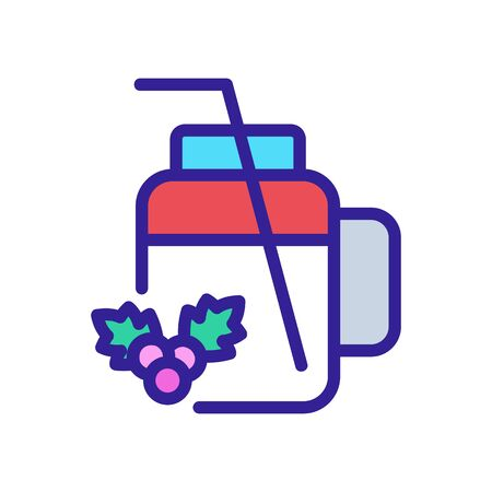 cup mug for hawthorn juice with straw icon vector. cup mug for hawthorn juice with straw sign. color symbol illustration