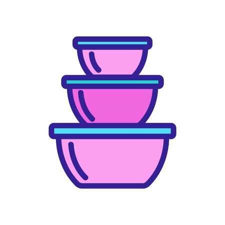 food storage containers in different sizes icon vector. food storage containers in different sizes sign. color symbol illustration
