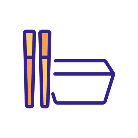rectangular food container with cutlery icon vector. rectangular food container with cutlery sign. color symbol illustration