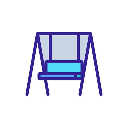 hanging swing bench icon vector. hanging swing bench sign. color symbol illustration
