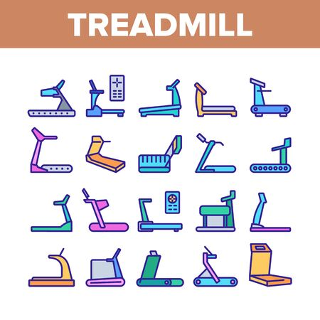 Treadmill Sportive Equipment Icons Set Vector. Collection Treadmill Sport Device For Running, Activity And Training, Cardio Exercise Concept Linear Pictograms. Color Illustrations Stock Illustratie