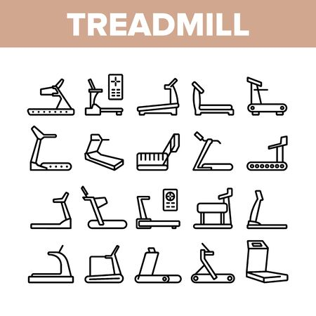 Treadmill Sportive Equipment Icons Set Vector. Collection Treadmill Sport Device For Running, Activity And Training, Cardio Exercise Concept Linear Pictograms. Monochrome Contour Illustrations Stock Illustratie