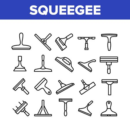 Squeegee For Cleaning Window Icons Set Vector. Brush Squeegee Equipment For Clean Glass, Wash Service Tool In Different Style Concept Linear Pictograms. Monochrome Contour Illustrations