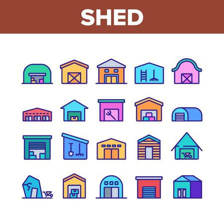 Shed Construction Collection Icons Set Vector. Shed Building For Storaging Pitchfork And Rake, Shovels And Trolley, Falling Apart Storage Concept Linear Pictograms. Color Illustrations
