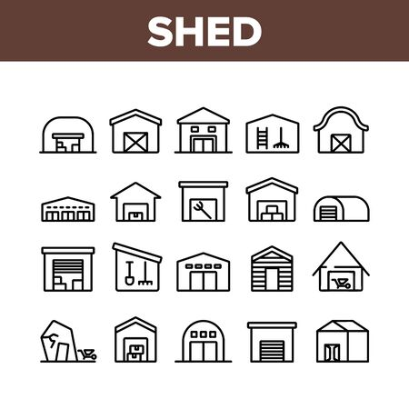 Shed Construction Collection Icons Set Vector. Shed Building For Storaging Pitchfork And Rake, Shovels And Trolley, Falling Apart Storage Concept Linear Pictograms. Monochrome Contour Illustrations Stock Illustratie