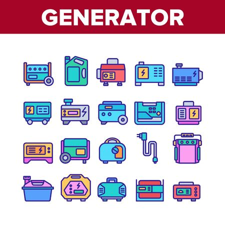 Portable Generator Collection Icons Set Vector. Generator Equipment For Generating Electricity, Fuel Bottle Package And Electrical Cord Concept Linear Pictograms. Color Illustrations Stock Illustratie