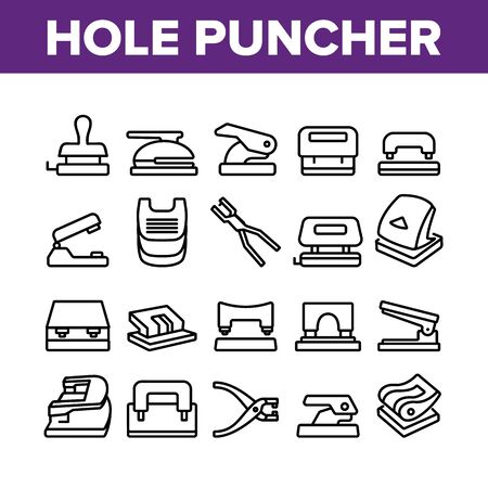 Hole Puncher Tool Collection Icons Set Vector. Hole Puncher Stationery Equipment, Office Accessory, Punching Paper Instrument Concept Linear Pictograms. Monochrome Contour Illustrations Stock Illustratie