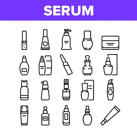 Serum Beauty Cosmetic Collection Icons Set Vector. Serum Skin Care Cream And Perfume, Face Gel And Lotion Package And Container Concept Linear Pictograms. Monochrome Contour Illustrations