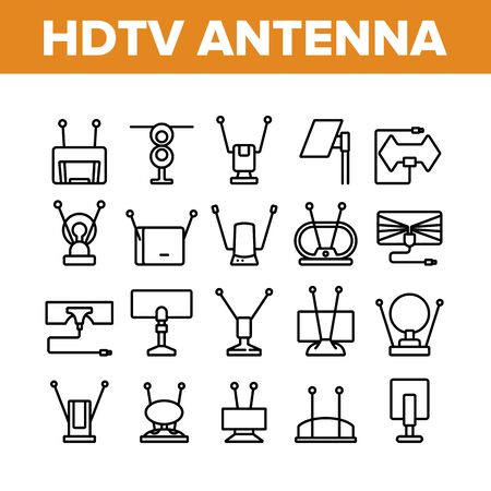 Hdtv Antenna Device Collection Icons Set Vector. Hdtv Antenna Gadget For Tv Broadcasting Signal, Media Equipment, Frequency Appliance Concept Linear Pictograms. Monochrome Contour Illustrations