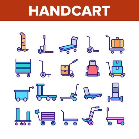 Handcart Transport Collection Icons Set Vector. Cargo Handcart For Transportation And Delivery Box And Baggage, Forklift And Cart Concept Linear Pictograms. Color Illustrations Stock Illustratie