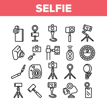 Selfie Photo Camera Collection Icons Set Vector. Selfie Stick And Tripod, Lens And Light Equipment, Remote Control Accessory For Photograph Concept Linear Pictograms. Monochrome Contour Illustrations Stock Illustratie