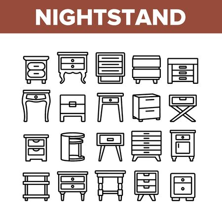 Nightstand Furniture Collection Icons Set Vector. Nightstand Vintage And Modern Design, Bedside Wooden Commode, Joinery Decorative Table Concept Linear Pictograms. Monochrome Contour Illustrations Stock Illustratie
