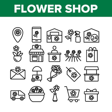 Flower Shop Boutique Collection Icons Set Vector. Flower Shop Delivery And Map Location, Bouquet And In Pot, Greenhouse And Garden Concept Linear Pictograms. Monochrome Contour Illustrations