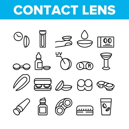 Contact Lens Accessory For Vision Icons Set Vector. Contact Lens Package And In Glass With Liquid, Bottle With Dropper And Medicine Concept Linear Pictograms. Monochrome Contour Illustrations