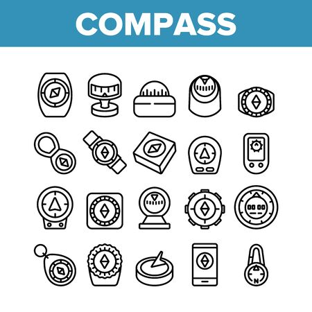 Compass Navigational Equipment Icons Set Vector. Compass Tool Application For Orienting Location And Direction Of Movement Concept Linear Pictograms. Monochrome Contour Illustrations