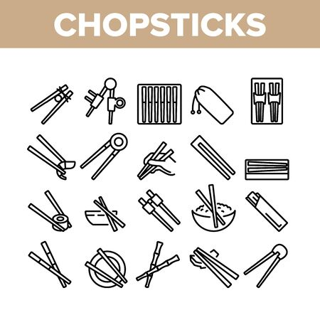 Chopstick Utensil Collection Icons Set Vector. Chopstick Bamboo Wooden Kitchenware For Eating In Oriental Restaurant Sushi And Rice Concept Linear Pictograms. Monochrome Contour Illustrations