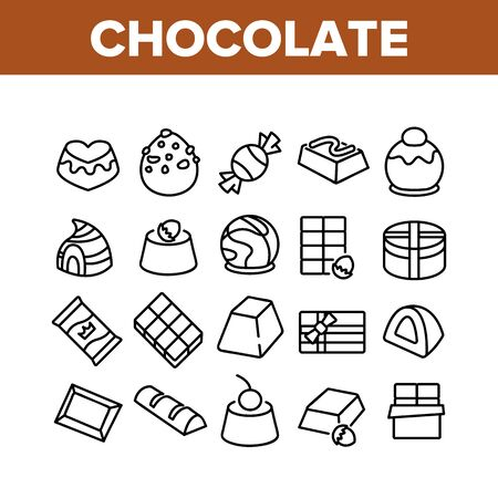 Chocolate Sweet Food Collection Icons Set Vector. Chocolate Candy And Cake, Pie With Cherry And Hazelnut Delicious Dessert Concept Linear Pictograms. Monochrome Contour Illustrations