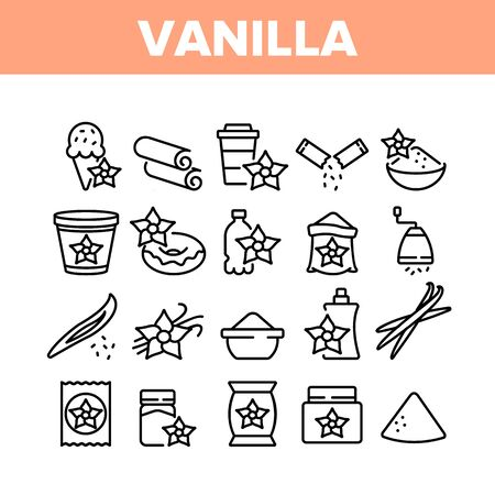 Vanilla Flower Spice Collection Icons Set Vector. Vanilla Stick Spicy Ingredient For Ice Cream And Coffee, Donut And Drink, Bottle And Bag Concept Linear Pictograms. Monochrome Contour Illustrations
