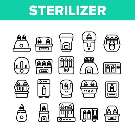 Sterilizer Device Collection Icons Set Vector. Sterilizer Electronic Equipment Milk Bottle For Cleaning, Steaming And Disinfection Concept Linear Pictograms. Monochrome Contour Illustrations