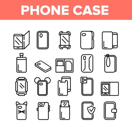 Phone Case Accessory Collection Icons Set Vector. Phone Protection Tool In Different Style, Glass Screen Protect And Waterproof Pouch Bag Concept Linear Pictograms. Monochrome Contour Illustrations