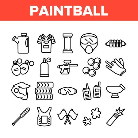 Paintball Game Tool Collection Icons Set Vector. Paintball Sport Equipment, Paint Ball Marker, Uniform, Mask, Chest Protection Concept Linear Pictograms. Monochrome Contour Illustrations
