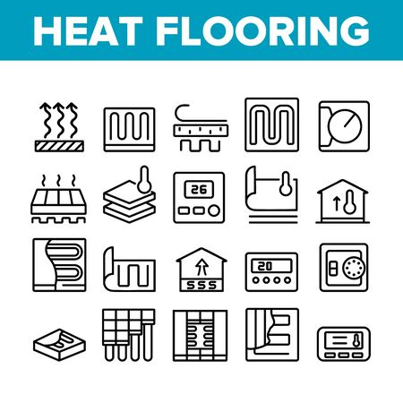 Heat Flooring Device Collection Icons Set Vector. Flooring Temperature Control Regulator And Equipment For Heating Room And House Concept Linear Pictograms. Monochrome Contour Illustrations