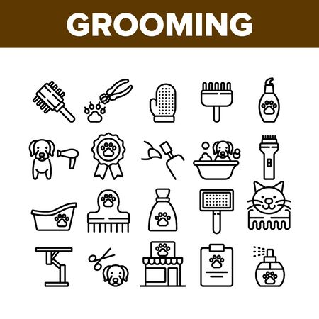 Grooming Animal Tool Collection Icons Set Vector. Equipment For Grooming Pet Claws And Wool, Washing And Drying Dog, Pet Shop And Hairbrush Concept Linear Pictograms. Monochrome Contour Illustrations