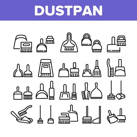 Dustpan And Brush Tool Collection Icons Set Vector. Dustpan And Broom For Cleaning Dust Equipment, Sweeping Housework Cleaner Concept Linear Pictograms. Monochrome Contour Illustrations