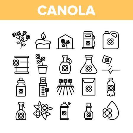 Canola Agricultural Collection Icons Set Vector. Canola Agriculture Flower Field And Pot, Oil And Spray, Greenhouse And Seeds Concept Linear Pictograms. Monochrome Contour Illustrations