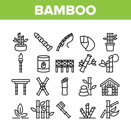 Bamboo Nature Plant Collection Icons Set Vector. Bamboo Material House And Bridge, Fishing Rod And Flute, Toothbrush And Table Concept Linear Pictograms. Monochrome Contour Illustrations Stock Illustratie