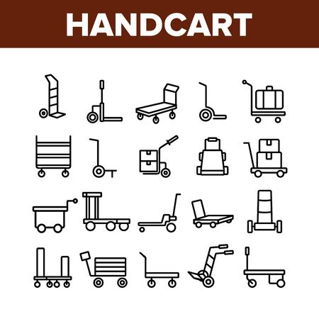 Handcart Transport Collection Icons Set Vector. Cargo Handcart For Transportation And Delivery Box And Baggage, Forklift And Cart Concept Linear Pictograms. Monochrome Contour Illustrations