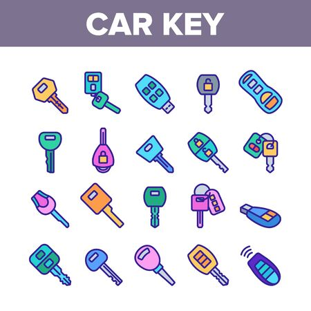 Car Key Equipment Collection Icons Set Vector. Car Key Device Different Style, With Buttons And Trinket, Lock And Open Padlock Concept Linear Pictograms. Color Illustrations