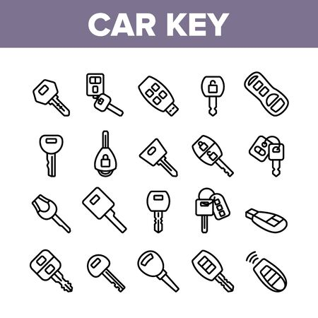 Car Key Equipment Collection Icons Set Vector. Car Key Device Different Style, With Buttons And Trinket, Lock And Open Padlock Concept Linear Pictograms. Monochrome Contour Illustrations
