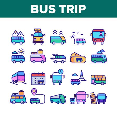 Bus Trip And Travel Collection Icons Set Vector. Bus Trip Calendar Date And Ticket, Fast Passenger Transport Minivan With Luggage Concept Linear Pictograms. Color Illustrations Stock Illustratie