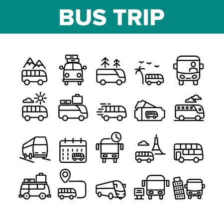 Bus Trip And Travel Collection Icons Set Vector. Bus Trip Calendar Date And Ticket, Fast Passenger Transport Minivan With Luggage Concept Linear Pictograms. Monochrome Contour Illustrations Stock Illustratie