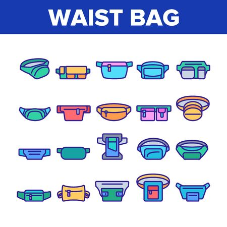 Waist Bag Accessory Collection Icons Set Vector. Traveler Waist Bag Belt For Safety Carry Mobile Phone, Credit Card, Money or Document Concept Linear Pictograms. Color Illustrations