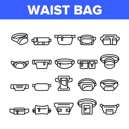 Waist Bag Accessory Collection Icons Set Vector. Traveler Waist Bag Belt For Safety Carry Mobile Phone, Credit Card, Money or Document Concept Linear Pictograms. Monochrome Contour Illustrations Stock Illustratie