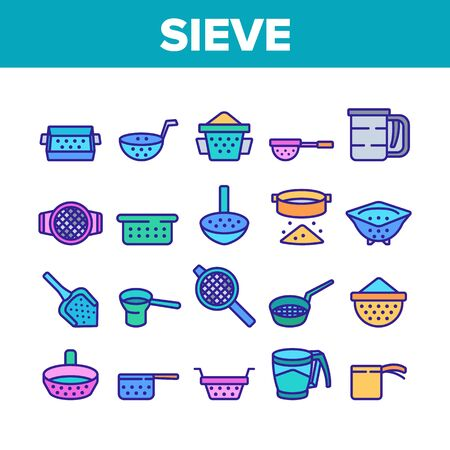 Sieve Kitchen Utensil Collection Icons Set Vector. Sieve Colander Cuisine Equipment For Sifting Flour In Different Form And Style Concept Linear Pictograms. Color Illustrations