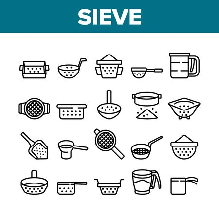 Sieve Kitchen Utensil Collection Icons Set Vector. Sieve Colander Cuisine Equipment For Sifting Flour In Different Form And Style Concept Linear Pictograms. Monochrome Contour Illustrations Stock Illustratie