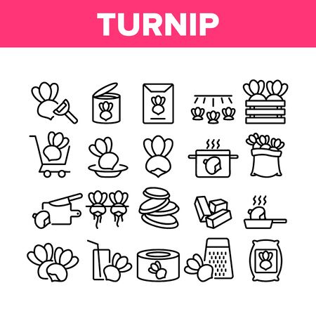 Turnip Agricultural Vegetable Icons Set Vector. Boiled And Fried Turnip, Cut Desk And Knife, Cart And Box, Grater And Bag Concept Linear Pictograms. Monochrome Contour Illustrations