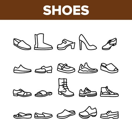 Shoes Footwear Shop Collection Icons Set Vector. Different Shoes Sneaker And Moccasin, Slippers And Boots, Toe And Loafer Concept Linear Pictograms. Monochrome Contour Illustrations
